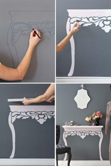 decorazione fai da te mensola gambe dipinte