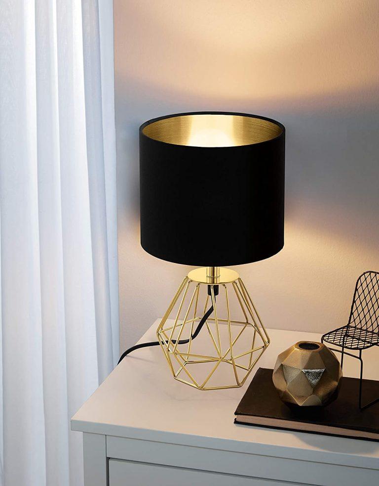 Lampada da tavolo geometrica nero e oro