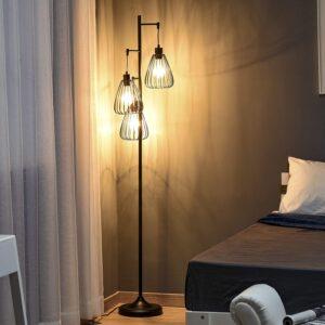 lampada da terra camera da letto stile industriale