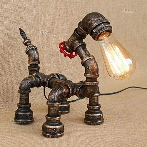 lampada da tavolo con tubi stile industriale