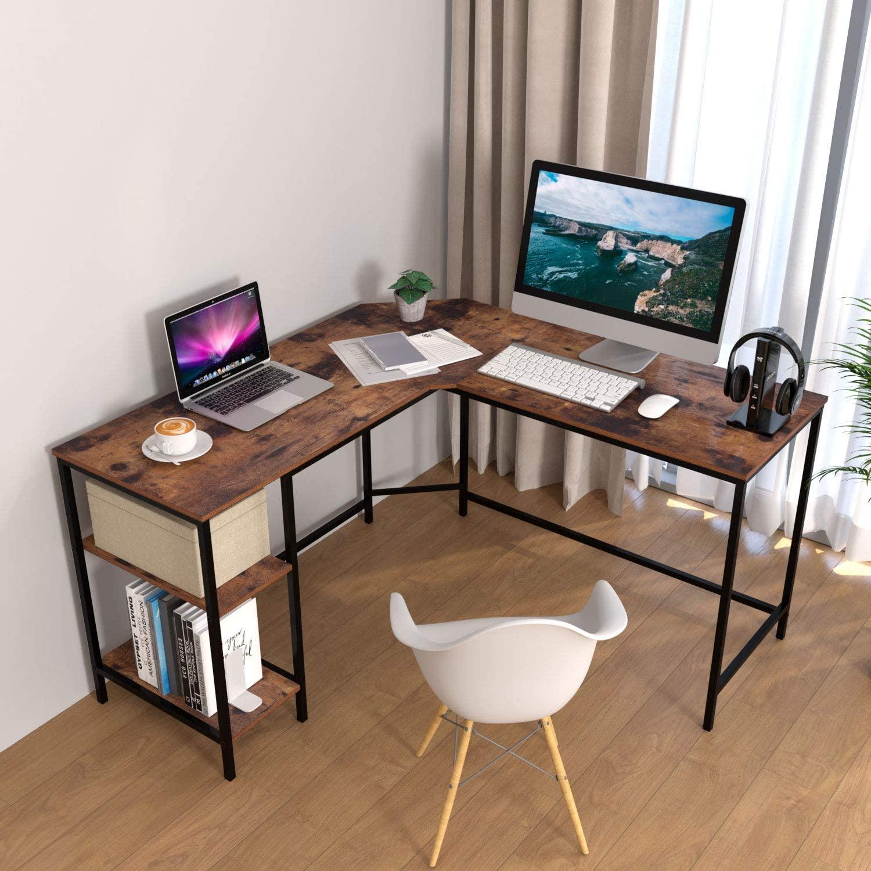 scrivania stile industriale a l con ripiani